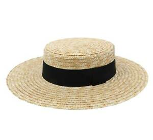 Classic Italy  Men's Canotier Large Boater Hat Wide Brim  Gondolier Straw