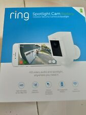 Ring Spotlight Cam Battery Security Camera - White with Free Chime Pro