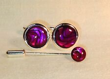 Red Abalone 16mm round Cufflinks with Cravat/Tie Pin, Silver plated.