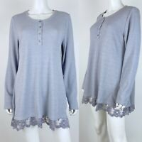 LOGO by Lori Goldstein Size Large Top Henley Waffle Knit Lace Trim Pockets Gray