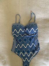 Sea Level Swim Suit Blue White Zigzag Stripe Open Back 10