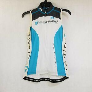 Louis Garneau Womens Cycling Vest Top Medium Jersey White Blue Black