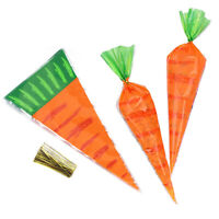 20Pcs Easter Carrot Candy Bags Easter Gift Bags Sweet Candy Kids Party Favour