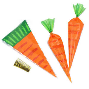 20Pcs Easter Carrot Candy Bags Easter Gift Bags Plastic Candy Cones Bags