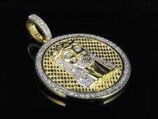 Acabado De Oro Amarillo .925 Plata Jesús Medallón Diamante Auténtico