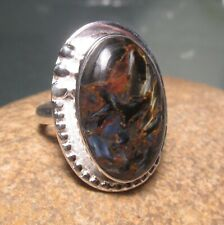 Sterling silver 925 cabochon Pietersite ring UK M½-¾/US 6.75. Gift bag.