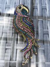 Antique Gold Multicolour Brooch Pin Large Parrot Gem Brooch Pin