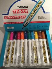 12 Assorted Coloured TEXTA Parcelmate Permanent Marker Brand New FREE POST Cheap