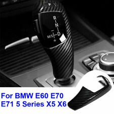 Carbon Fiber Gear Shift Knob Cover Trim ABS For BMW 5 Series E60 E70 E71 X5 X6