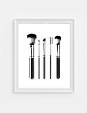 Make up brush set   black Wall Print  Decor, Wall Art