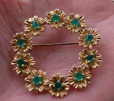 Vintage 14K Yellow Gold w/ Emeralds  in Flowers Wreath Brooch 7.8 Grams No scrap