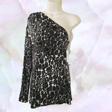 Allen B Medium Animal Print One Shoulder Top Glitz & Glam Sexy Club Wear NWT $48