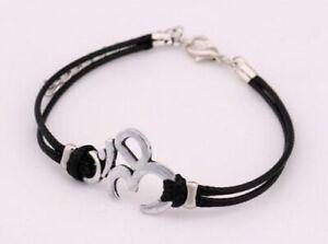 Tibetan Buddhist Silver Colour Om Symbol Leather Bracelet Religious Yoga