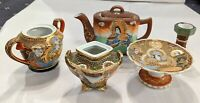 Vintage Japan 6 PC Satsuma Style Moriage Dishes