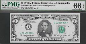 1963-A  $5 MINNEAPOLIS FED (( STAR ))  PMG 66 EPQ  L@@K NR