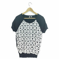 Anthropologie Moth Top M Women's Basic Multicolor Short Sleeve Lace Knit