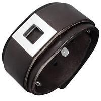 Bracelet homme en cuir véritable marron avec boucle de ceinture acier ZB0153