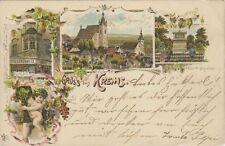 73406 - Litho Gruss aus Krems mit Schmidt Monument 1896