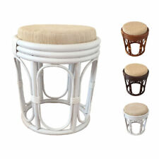Rattan Natural Wicker Pouf Stool with Cushion model Romeo