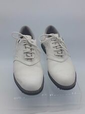 Vintage 90s Adidas 3 Stripes All White Leather Upper EVN 791 Golf Shoes US 6.5