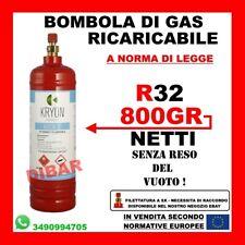 BOMBOLA DI GAS REFRIGERANTE R32 DA 1KG NET. 800 GR RICARICABILE SENZA RESO VUOTO
