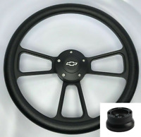 "14"" Billet Black Steering Wheel w/ Bowtie Horn For 1974-1994 Chevy Pickup Truck"