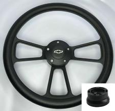 "14"" Billet Black Steering Wheel w/ Bowtie Horn For 1974-1994 Chevy Pickup Truck"