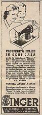 W6500 Macchina da cucire SINGER - Pubblicità 1937 - Advertising