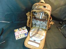 NEW 4 Person Picnic Backpack Stainless Steel Utensils blanket wine chiller book