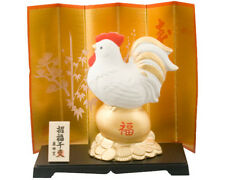 """Japanese 4""""H Earthen Gold Egg Money Coin Rich Rooster Figurine w/ Stand & Screen"""