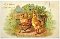 Old Easter greetings postcard antique divided back chick spider Germany 1909