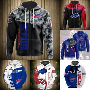 Buffalo Bills Hoodies Fans Full Zip Hooded Sweatshirts Men's Casual Jacket Coat
