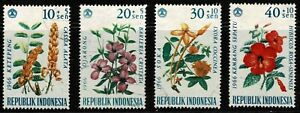 Indonesia 1966 Flowers Surtaxed - Set Of Four Stamps - MLH