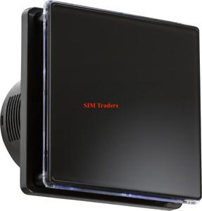"Modern LED Back Lit 100mm 4"" Wall 240V Overrun Timer Air  Extractor Fan BLACK"