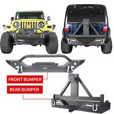 Front & Rear Bumper w/ Tire Carrier & LED Lights for Jeep Wrangler TJ 1997-2006