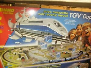MEHANO TRAIN LINE TGV DUPLEX WITH SCENIC LAYOUT HO SCALE #309445