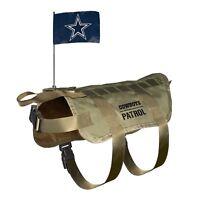 NEW DALLAS COWBOYS DOG PET PREMIUM TACTICAL VEST HARNESS w/ TEAM FLAG