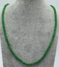 Genuine Natural 2x4mm Green Jade Faceted Gems Beads Necklace 18'' JN1633