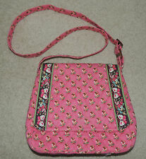 VERA BRADLEY Retired Pink Pansy Flowers Butterflies Purse Tote Bag, Excellent!