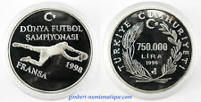 TURQUIE   750 000 LIRA  ARGENT 1996 , COUPE DU MONDE DE FOOTBALL ,   PROOF   FDC