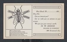 USA 1910 UNUSED 1c McKINLEY PS CARD PREPRINTED HOUSE FLY SCREEN ADVERTISEMENT