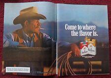 1980 Print Ad Marlboro Man Cigarettes ~ Western Cowboy Resting Against Fence