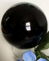 172.5g POWERFUL NATURAL GLOSSY BLACK OBSIDIAN Crystal Sphere w/Stand ITALY  50mm