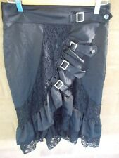 pre-loved ruffled and lace skirt size L black with buckles goth, gypsy