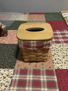 longerberger tissue basket, lid, liner, protector, orchard park plaid, Exc