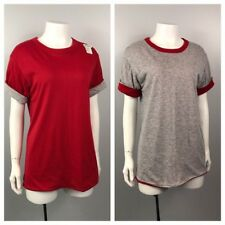 1980s T-shirt / Reversible Red and Gray Tee Shirt Top / Women's Medium