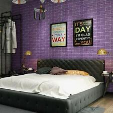 Hot Modern 3D Brick Pattern Wallpaper Bedroom Living Room Wall Background Purple