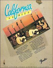 Fender California Series acoustic guitars 1982 advertisement 8 x 11 ad print