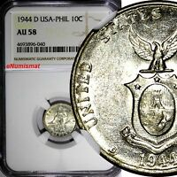 Philippines U.S. Administration Silver 1944 D 10 Centavos NGC AU58 KM# 181