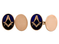 9Carat Rose Gold and Enamel Freemasons Square and Compass Cufflinks Vintage